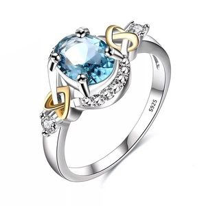 S925 Sterling Silver Oval Aquamarine Heart Ring